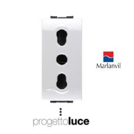 MARLANVIL 7679 PRESA BIPASSO COMPATIBILE BTICINO LIVING LIGHT N4180 BIANCA