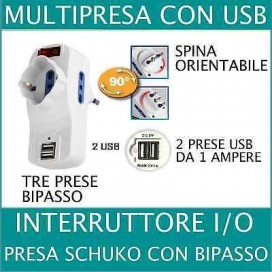 ADATTATORE SPINA MULTIPRESA SCHUKO 1500W MAX BIPASSO 2 USB ROTANTE INTERRUTTORE