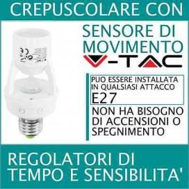 V-TAC Portalampada E27 con Sensore di Movimento per lampadine E27 Max 60W