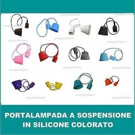 PORTALAMPADA A SOSPENSIONE SOFFITTO IN SILICONE COLORATI E27 VT INTERNO