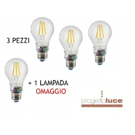 3 BEGHELLI 56305 + 1 OMAGGIO LAMPADA LED ZAFIRO EMERGENZA 6W 230V E27 2700K