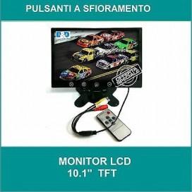 MONITOR LCD 10.1 POLLICI AUTO PULSANTI A SFIORAMENTO TELECOMANDO 2 INGRESSI AV