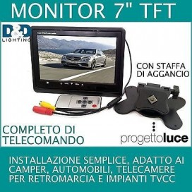MONITOR LCD 7 '' TFT TV VIDEO A COLORI CON TELECOMANDO DOPPIO INGRESSO VIDEO