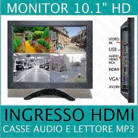 Monitor Lcd TFT 10 pollici videosorveglianza 2 ingressi AV VGA Hdmi 1080p USB