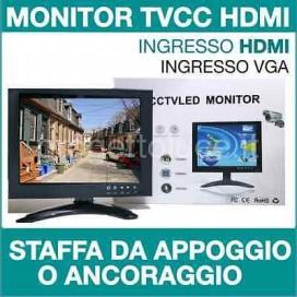 """Monitor HD 8 """" POLLICI LCD LED PER VIDEOSORVEGLIANZA ingresso HDMI VGA AV BNC"""