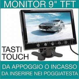 MONITOR LCD 9 POLLICI TOUCH PER TELECAMERA AUTO TELECOMANDO E ALIMENTATORE 2 AV