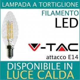 LAMPADA a TORTIGLIONE LED LAMPADINA FILAMENTO LED 4W E14 luce calda V-TAC