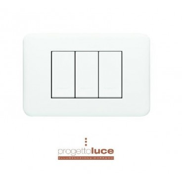 LEGRAND 680543 PLACCA SERIE CROSS 3 POSTI BIANCA