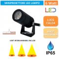 LAMPO PROJ6W FARETTO LED 6W LAMPADA MINIPROIETTORE ORIENTABILE DA GIARDINO IP65 230V