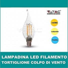Lampadina LED tortiglione colpo di vento filamento 4W E14 v-tac