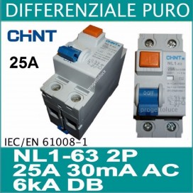 CHINT 61211 DIFFERENZIALE PURO 2X25A 30ma 2 MODULI DIN