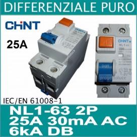 CHINT 61211 DIFFERENZIALE PURO 2X25A 30ma 2 MODULI DIN