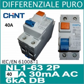 CHINT 61212 SALVAVITA differenziale puro 2 x 40A 30ma AC 2 moduli din chint