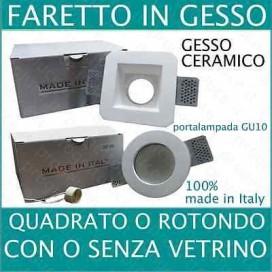 Porta Faretto in Gesso Ceramico incasso con portalampada GU10