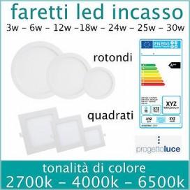 FARO LED FARETTO PANNELLO SLIM 3w-6w-12w-18w INCASSO A MOLLA ROTONDO - QUADRAT