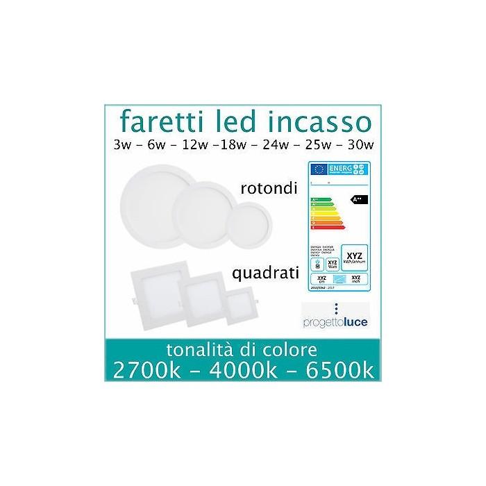 PANNELLO LED V-TAC FARO FARETTO INCASSO DA 3W 6W 12W 18W 24W QUADRATO ULTRA SLIM