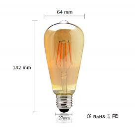 LAMPADA LED FILAMENTO 8W E27 ST64 VINTAGE BULBO CALDA 2700K