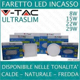 FARETTO PANNELLO LED ULTRA SLIM INCASSO V-TAC 8W 15W 22W 29W ALTA luminosità