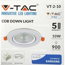 V-TAC VT-2-10 FARETTO LED 10W COB DA INCASSO ROTONDO BIANCO CHIP SAMSUNG