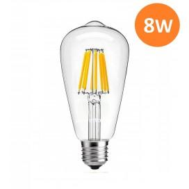 LAMPADA LED FILAMENTO 8W E27 ST64 VINTAGE BULBO LAMPADINA CALDA 2700K