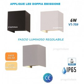 APPLIQUE LAMPADA PARETE LED CUBO 6W IP65 CON DOPPIA LUCE REGOLABILE V-TAC