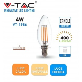 V-TAC LAMPADINE LED E14 4W LAMPADA FILAMENTO CANDELA TRASPARENTE