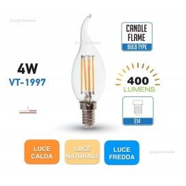 V-TAC LAMPADINE LED 4W E14 LAMPADA FILAMENTO CANDELA FIAMMA TRASPARENTE
