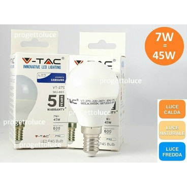 10 LAMPADINE LED V-TAC PRO E14 SFERA 7W MINIGLOBO P45 CHIP SAMSUNG LAMPADA