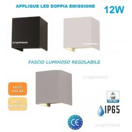 APPLIQUE LAMPADA PARETE LED CUBO 12W IP65 CON DOPPIA LUCE REGOLABILE V-TAC