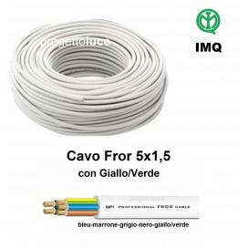 CAVO FILO ELETTRICO MULTIPOLARE SEZIONE 5X1,5 5G1,5 FROR IMQ AL METRO