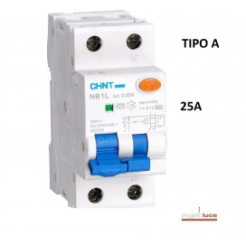 CHINT 203337 INTERRUTTORE MAGNETOTERMICO DIFFERENZIALE 25A 1P+N TIPO A 30MA