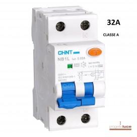 CHINT 203338 INTERRUTTORE MAGNETOTERMICO DIFFERENZIALE 1P+N 32A 230V CLASSE A