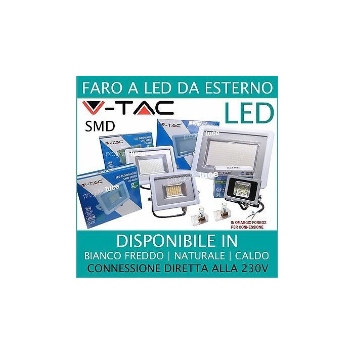 V tac faro faretto led smd 10w 20w 30w 50w 100w ultra slim for Led esterno 50w