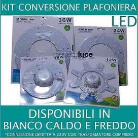 LED PANNELLO KIT SMD LUCE 12W 18W 24W 36W CONVERSIONE PLAFONIERA VECCHIO NEON