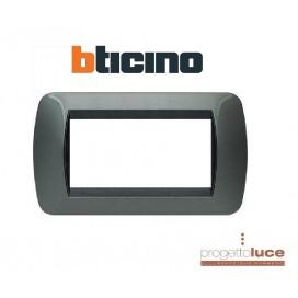 BTICINO L4804AC placca 4 moduli - acciaio scuro - materiale metallo