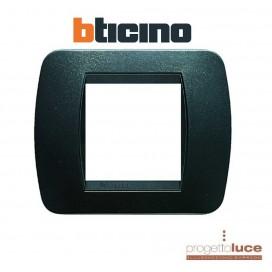 BTICINO L4802PA LIVING placca 2 moduli posti plastica acciaio scuro