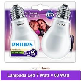 LAMPADINE LED PHILIPS 7 W Watt ATTACCO E27 LAMPADA BULBO GOCCIA LUCE CALDA