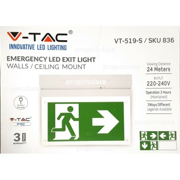 V-TAC VT-519 LAMPADA EMERGENZA LED BANDIERA 160 lm 6000K SA SE ANTI BLACK OUT