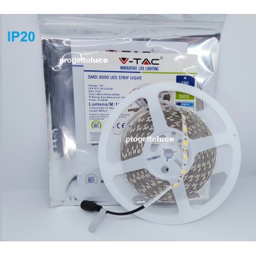 STRISCE LED V-Tac SMD 5050 Bobina da 5mt Strip CALDO FREDDO NATURALE IP20 10,8w