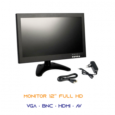 """MONITOR 12"""" POLLICI FULL 1080P COLORI AV VGA HDMI BNC VIDEOSORVEGLIANZA VIDEO PC"""