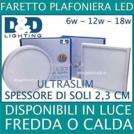 PANNELLO PLAFONIERA FARETTO FARO LED ROTONDO QUADRATO 6W 12W 18W ULTRASLIM
