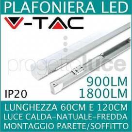 PLAFONIERA LED T8 WATT TUBO 10W 20W 60cm 120cm SOFFITTO fredda naturale calda