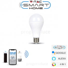 V-TAC SMART VT-5117 LAMPADINA LED WI-FI E27 15W BULB A65 RGB+W 4IN1 DIMMERABILE