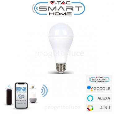 V-TAC SMART VT-5117 LAMPADINA LED WI-FI E27 15W BULB A65 RGB+W 4IN1 DIMMERABILE