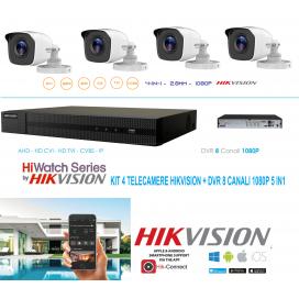 KIT HIKVISION KIT 4 TELECAMERE VIDEOSORVEGLIANZA 2MPX TVCC DVR 8 CANALI HD