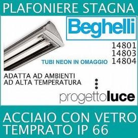 BEGHELLI PLAFONIERE STAGNA T8 ACCIAIO REATTORE ELETTRONICO IP66 2X18W 2X36W