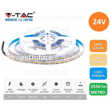 STRISCIA LED 1190LED V-Tac 24V Bobina 5mt Strip 2835 ALTA LUMINOSITA' IP20 NEW