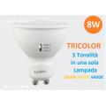 LAMPADA LED FARETTO LAMPO GU10 8W SMD TRICOLOR TRE TONALITA' IN UN UNICA LAMPADA