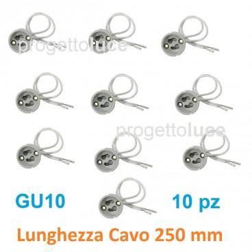 10 Portalampade con Cavi per Lampadine GU10 Porta Lampada Faretto 250V Ceramica