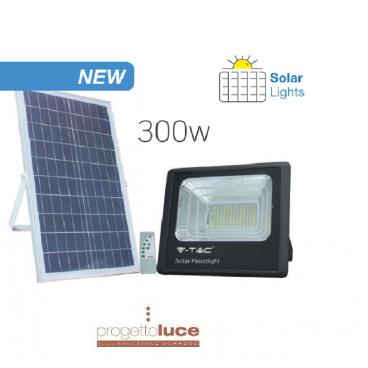 FARO 300w ENERGIA SOLARE LED CON PANNELLO FARETTO CREPUSCOLARE + TELECOMANDO V TAC luce bianca